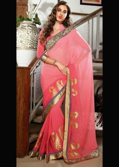 Salmon Embroidered Saree . Buy online at - http://gravity-fashion.com/16367-salmon-embroidered-saree.html