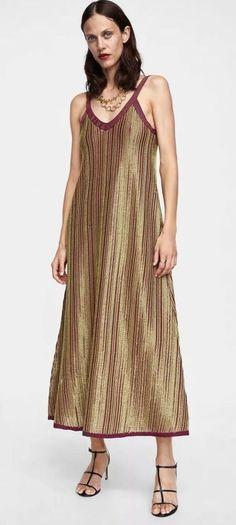 cea014f5586e Zara limited edition metallic thread maxi long dress size m