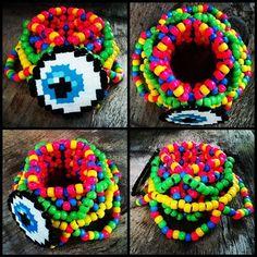 Eye Kandi Cuff by SzophiaLeigh Pony Bead Patterns, Kandi Patterns, Perler Patterns, Beading Patterns, Bracelet Patterns, Stitch Patterns, Raves, Fuse Beads, Perler Beads