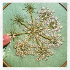 very tiny stitch that #white #flower part after that I'm gonna put beads them #embroidery #Angelica #刺繍#ハナウド