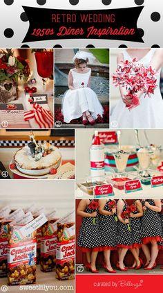 Retro 1950 diner wedding theme inspiration board by Bellenza. #retroweddings #1950sweddings #dinertheme