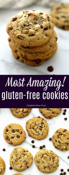 Gluten Free Chocolate Chip Cookies with a chewy thick center! These gluten free chocolate chip cookies don't fall apart, are incredibly moist, & oozing with Easy Gluten Free Desserts, Gluten Free Cookie Recipes, Gluten Free Bakery, Best Gluten Free Chocolate Chip Cookie Recipe, Christmas Gluten Free Desserts, Easy Gluten Free Cookies, Gf Cookie Recipe, Gluten Free Chips, Healthy Gluten Free Recipes