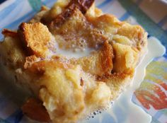 Pina Colada Bread Pudding with Vanilla Rum Sauce - As is served on Disney Cruise Lines _ This tasted exactly like I hoped it would, sweet & coconuty, soft with a little crunch... Just perfect. ~ The Disney Chef