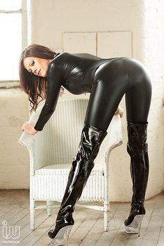 shittandotherjunk: pvc catsuit and patent leather thigh boots by ShinySexy on Flickr.