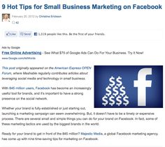 9 Hot Tips for Small Business Marketing on Facebook