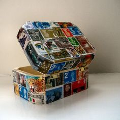 decoupage box with postage stamps