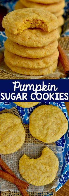 Sugar Cookies are absolutely amazing! Deliciously soft and full of pumpkin fall flavor! Bound to become a family favorite!Pumpkin Sugar Cookies are absolutely amazing! Deliciously soft and full of pumpkin fall flavor! Bound to become a family favorite! Pumpkin Sugar Cookies, Sugar Cookie Recipe Easy, Soft Sugar Cookies, Pumpkin Dessert, Yummy Cookies, Köstliche Desserts, Delicious Desserts, Dessert Recipes, Yummy Food
