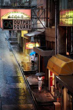 Hong Kong in the rain, by Christophe Jacrot