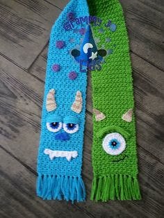 Monster Scarf By JoAnne Grimm Thompson - Purchased Crochet Pattern - One Size Fits Adults And Children - (ravelry) Crochet Vintage, Knit Or Crochet, Crochet Scarves, Crochet For Kids, Crochet Shawl, Crochet Crafts, Yarn Crafts, Crochet Clothes, Crochet Baby