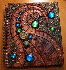 Turtle shell sketchbook cover by MandarinMoon on DeviantArt Notebook Covers, Journal Covers, Journal Notebook, Polymer Clay Projects, Polymer Clay Art, Yin Yang, Polymer Journal, Mini Bar, Biscuit
