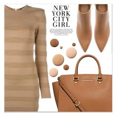 """Beige Motion"" by lucky-1990 ❤ liked on Polyvore featuring Balmain, MICHAEL Michael Kors, Zara and Lumière"