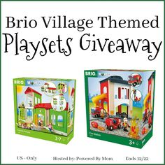 brio-village-themed-giveaway. TWO fun playsets for the kiddos. Hours of fun. #contest #giveaway #toys #playsets #firemanplaysets #kids