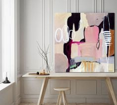 Minimalist abstract painting modern extra large wall art