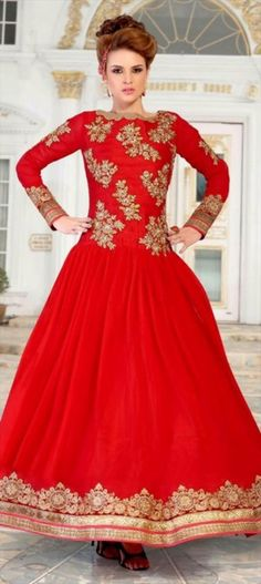 443837: red and maroon color family stitched gown...