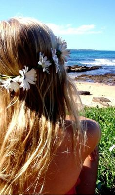 flowers in her hair....sun up above #Perfect #Day 4 #BeachHair