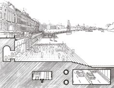 Richard Rogers || Drawing of Riverside Walkway, 1986