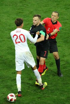Ivan Rakitic of Croatia clashes with Dele Alli of England during the 2018 FIFA World Cup Russia Semi Final match between England and Croatia at Luzhniki Stadium on July 2018 in Moscow, Russia. Dele Alli, England Players, England Football, English Premier League, Premier League Matches, Hot Hunks, Moscow Russia, Tottenham Hotspur, Fifa World Cup
