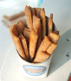 Cinnamon sugar + leftover pie crust baked in strips = pie fries!