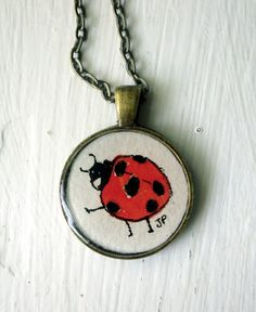 Red Black White Ladybug Necklace Original by LaRueStudio on Etsy, $30.00