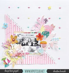 How pretty is this layout by and that stitching 💖💖💖 Scrapbook Sketches, Scrapbook Page Layouts, Scrapbook Pages, Scrapbooking Ideas, Baby Sketch, Hip Kit Club, Websters Pages, Craft Stash, Baby Album
