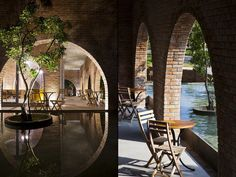 F – coffee was designed based on the basic concept of minimalism, brick, concrete, stone floor, trees and water to create a concise and emotional space.