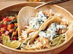Fish Tacos with Lime-Cilantro Crema