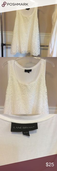 🎉$1.95 Shipping 🎉Tank top with Lacey front NWOT Beautiful white tank with Lacey front overlay. Tags were removed but it has not been worn, just tried on. Lane Bryant Tops Tank Tops