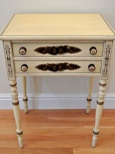 Hitchcock Work Table Night Stand Accent Side Maple Wood Ivory 16x21x29 Vintage | eBay