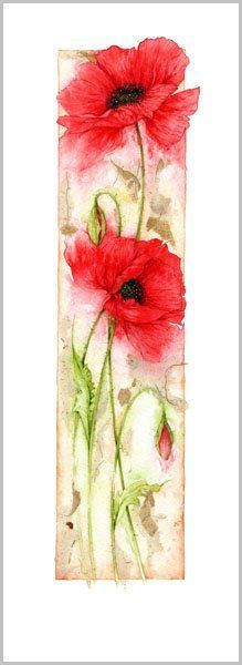 Poppies are one of my favourite flowers, this watercolour painting is gorgeous Silk Painting, Watercolour Painting, Painting & Drawing, Tattoo Watercolor, Watercolors, Watercolor Poppies, Watercolor Cards, Red Poppies, Yellow Roses