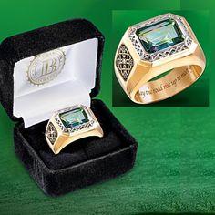 Diamond And Mystic Topaz Men's Ring: Pride Of Ireland