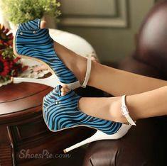 Sexy Zebra Peep Toe Stiletto Heels Platform Pumps