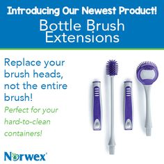 "Quickly get bottles, vases, glassware and other hard-to-clean containers clean and spotless. Flexible and sturdy ThermoPlastic Rubber bristles combine with an easy-grip handle in this kitchen ""must have."" Layer on the EnviroSleeve that comes in the set for delicate glassware or purchase the EnviroSleeve with Scrubber for extra-tough jobs. #Norwex2015"