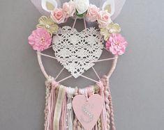 Gepersonaliseerde hart Unicorn Dreamcatcher / muur opknoping / Decor van de kwekerij