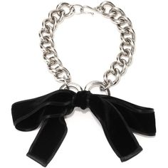 Alexander McQueen Ribbon Bow Chain Necklace found on Polyvore