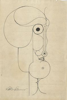Oskar Schlemmer - Pen and ink drawing. Showing the versatility of Schlemmer's work, obscure, slightly disturbing distorted face it seems.