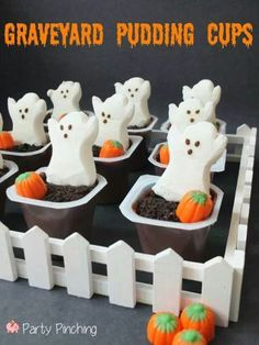 Oh my goodness! How easy is this! Jello Pudding cups! Halloween Craft and Treat Ideas! Adorable!