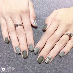 Hot Nail Art Designs For Short Nails Without Tools At Home Plaid Nails, Swag Nails, Plaid Nail Art, Grunge Nails, Green Nails, Pink Nails, Green Nail Art, White Nails, Purple Nail