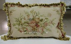 "14""x20"" Floral Roses Petitpoint Needlepoint Decorative Sofa Chair Pillow Cushion"