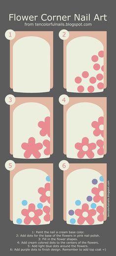 Ten Colorful Nails: Flower Corner Nail Art + Tutorial