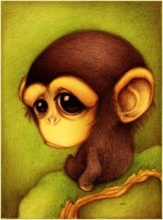 cute monkey design for the nursery Stunning Illustrations by Faboarts Art And Illustration, Illustration Mignonne, Monkey Art, Cute Monkey, Cute Animal Drawings, Cute Drawings, Print Image, Art Amour, Art Mignon