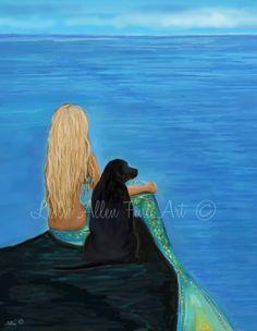 "Mermaid Art Mermaid Print Mermaids Black Lab Labrador Art  Mermaid Wall Art ""MY LOYAL FRIEND""  Wall Art Mermaid Painting Yellow Lab Labrador by LeslieAllenFineArt on Etsy"