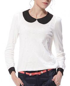 White shirt with black Peter Pan collar