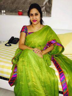 Discover thousands of images about Madhuri Atluri Saree Blouse Neck Designs, New Blouse Designs, Saree Blouse Patterns, Trendy Sarees, Stylish Sarees, Fancy Sarees, Desiner Sarees, Indian Silk Sarees, Beautiful Saree