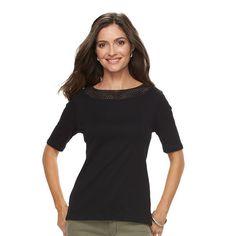 Women's Croft & Barrow® Crochet Tee, Size: Medium, Black