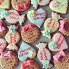 sugar cookies by micarina Baby Cookies, Cute Cookies, Birthday Cookies, Sugar Cookies, Sugar Icing, Wedding Cookies, Candy Party, Sweets Recipes, Pretty Cakes