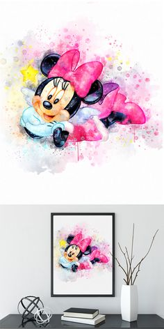 Disney Minnie Mouse Watercolor Art Poster Print - Wall Decor - Watercolor Painting - Artwork - Home Decor - Kids Decor - Nursery Decor Watercolor Art Diy, Watercolor Disney, Watercolor Art Paintings, Disney Home Decor, Disney Crafts, Arte Disney, Disney Art, Wall Prints, Poster Prints