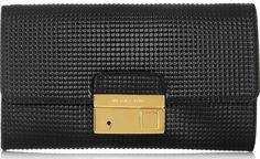 Michael Kors Gia Embossed Glossed Leather Clutch