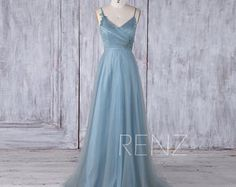2017 Dusty Blue Tulle Bridesmaid Dress A Line Scoop Lace Neck