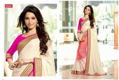 Tammna Bhatia In Cream Jaquard & Red Net Half Half Saree Bollywood Sarees Online on Shimply.com