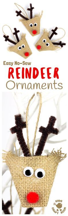 ADORABLE BURLAP REINDEER ORNAMENTS - a simple no-sew Christmas craft for kids. Homemade reindeer decorations look gorgeous on the Christmas tree or used as gift tags. Rustic burlap crafts are just perfect for Christmas.